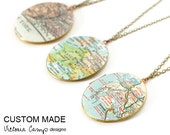 Custom Map Necklace - Brass Locket - Large Vintage Oval Locket - Antiqued Brass Chain - Personalized Gift, Gift for Her