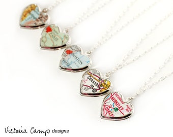 Custom Map Necklace - Small Silver Heart Locket - Sterling Silver Chain, Personalized, Silver Locket, Gift for Her, Valentine