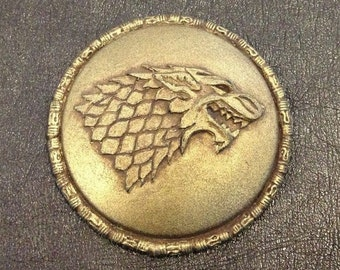 Game of Thrones House Stark Sigil Gold Badge / Pin