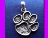 Sterling Silver Paw Print Pendant  Paw Charm Paw Print Jewelry