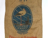 """Authentic Vintage French Pure Hemp Hessian Bag, 46""""x23"""", excellent condition (5 pieces available)"""