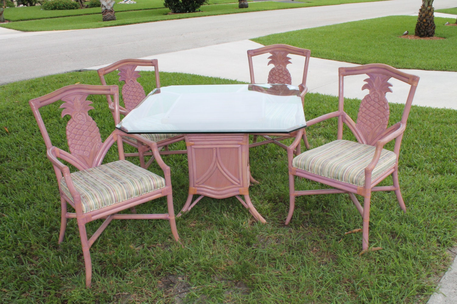 Vintage Pineapple Rattan Wood Dining Chairs Table By