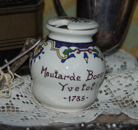 French Vintage Mustard Pot, Crock - Moutarde Bocquet Yvetot from Digoin & Sarreguemines