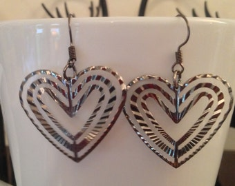 Gun Metal Black Heart Earrings