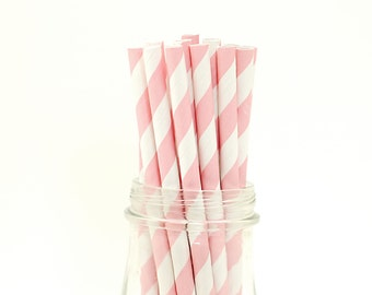 Set of 25 Pink Striped Paper Straws with FREE DIY Printable Flags