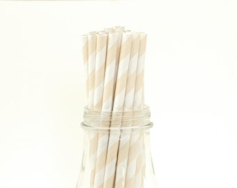 Set of 25 Ivory Striped Paper Straws with FREE DIY Printable Flags