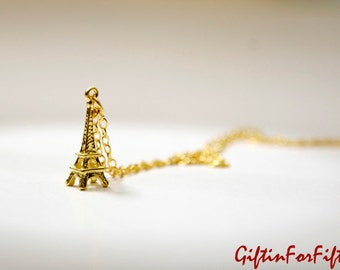 Eiffel Tower Necklace, Gold Plated, Simple, Diamond Cut Dainty Gold Plated Chain, Wedding, Elegant, Bridesmaids Gift, Birthday, Graduation