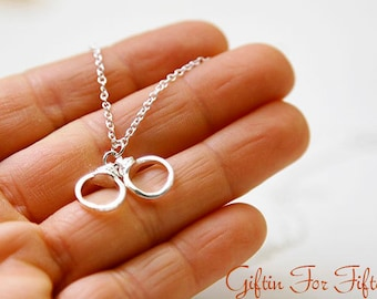 Handcuff Necklace, Silver Plated, Diamond Cut Chain, Nerdy Jewelry, For Her, Modern, Dainty, Minimalist, Simple Everyday Bridal Jewelry OOAK