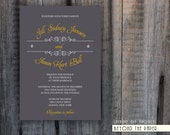 DIY Printable Vintage Wedding Invitation with Custom colors - GRAY