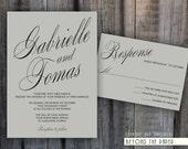 Printable Elegant and Modern Template Wedding Invitation Set - Custom colors - DIY Wedding - Digital files