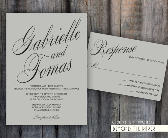 Printable elegant and modern template wedding by for Modern wedding invitations free samples