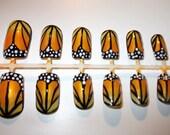 Orange Monarch Butterly False Nails