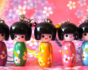 SALE Small Wooden Kokeshi Doll Charms....