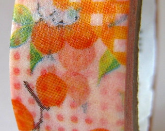 "Japanese Designer Masking Tape/ Washi Tape ""MT"" Patchwork Floral ""Oranges""  10 Meters"