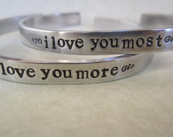 I Love You More   I Love You Most  lower case bracelets Sold as a pair