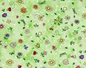 Flowers and Butterflies All Over Green - Timeless Treasures C8679-GREEN (sold by the 1/2 yard)