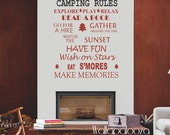 Camping Rules Wall Decal, Cottage Wall decal, trailer wall decal, cabin wall decal Camp Rules