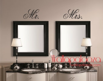 Mr ans Mrs Wall Decal - Mirror Decal - Mr and Mrs - Bathroom Wall decal - Master bedroom decal - bathroom wall decor