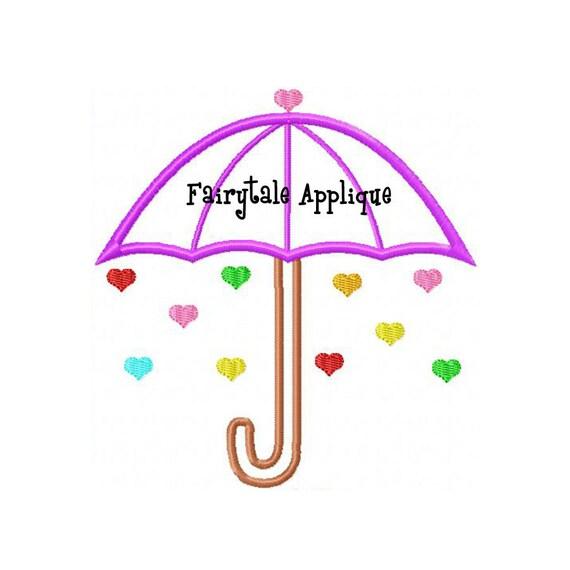 Digtial machine embroidery design umbrella applique