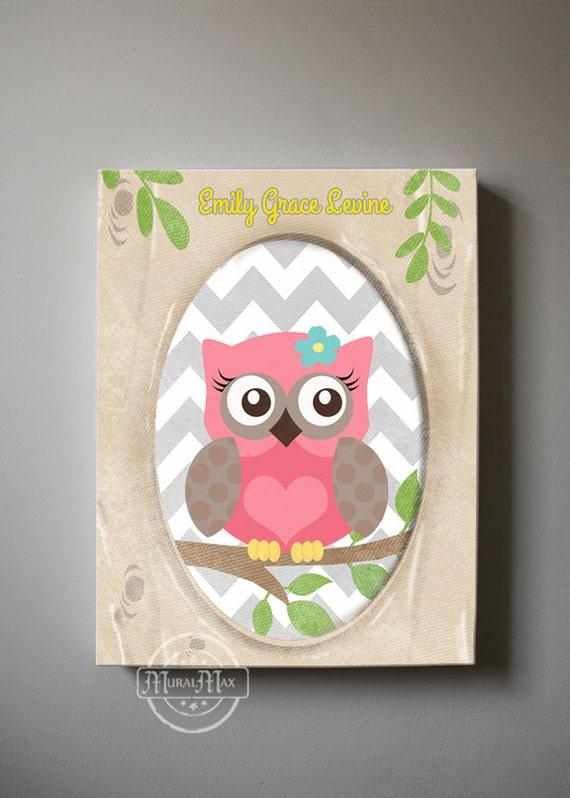 Owl Baby Bedroom Decor: Owl Decor Girls Wall Art OWL Canvas Art Baby Nursery