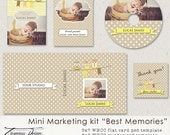 Isnant Downoad Premade Marketing set - Best Memories, 5x7 Birth Announcement Any Occasion Flat Photo Card Template, CD/DVD Double Case