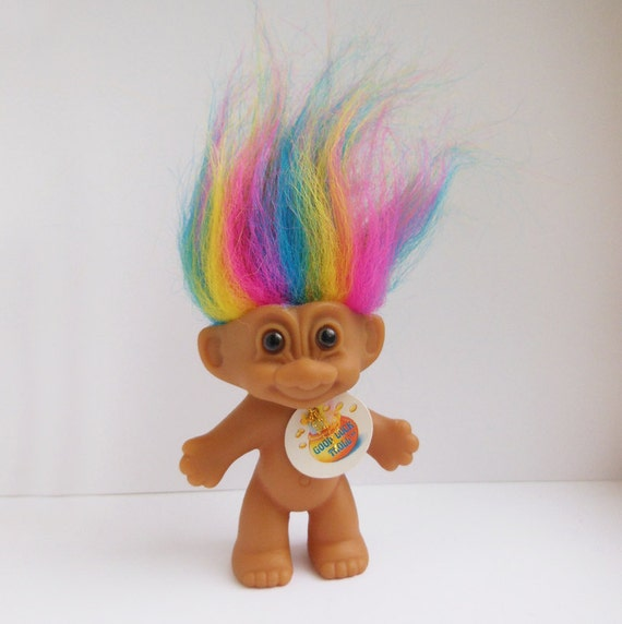 Vintage russ good luck rainbow troll doll by hickoryvalley on etsy