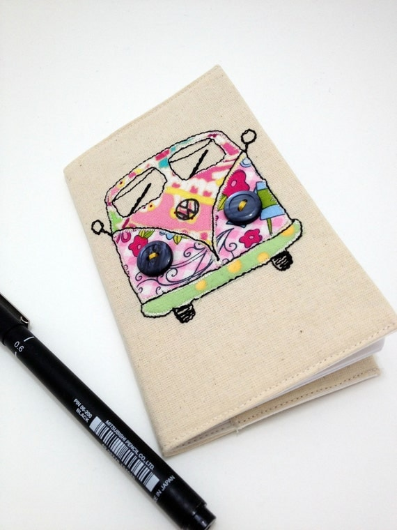 Fabric covered mini VW campervan theme notebook