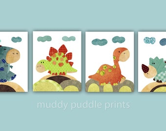 Dinosaur Prints Boys Room Prints Nursery Decor Nursery Art Boys Room Art
