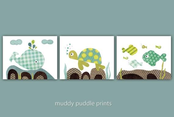 Ocean Wall Decor For Nursery : Nursery art prints kids room wall decor ocean