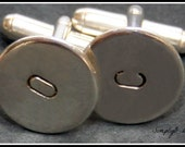Initial Cufflinks Sterling Silver - Handstamped - Personalized Cuff Links - Wedding Cufflinks