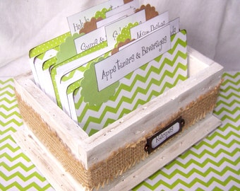 RECIPE BOX, Dividers, Recipe cards, Lime Green Chevron Dividers, Distressed White Box, Burlap, Green and White