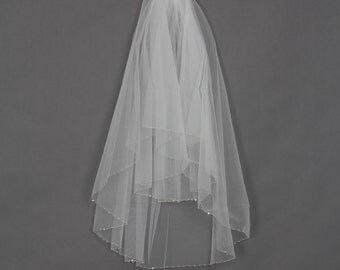 Handworked Beaded Edge Wedding Veil 2012, White Wedding Veil, Ivory Wedding Veil