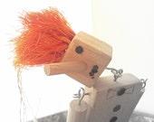 vintage doll with orange hair- vintage brush- handmade marionette- puppet - 1950s doll- clown-for kids