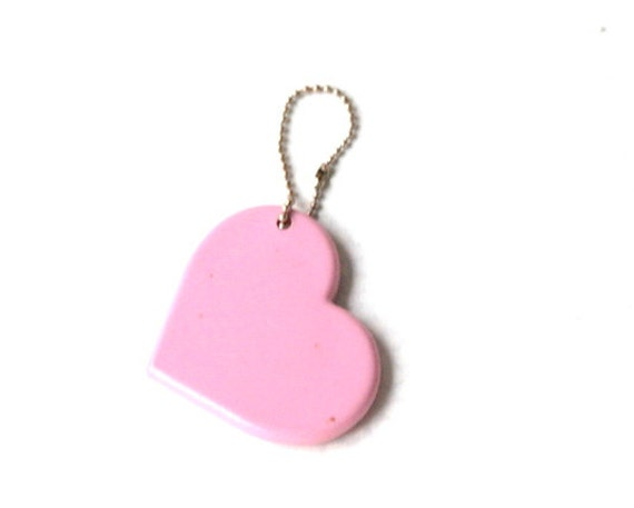 FREE  shipping with another item-vintage pink mirror- cute girly heart- pink plastic heart- Valentines- sweet gift- vintage 70s