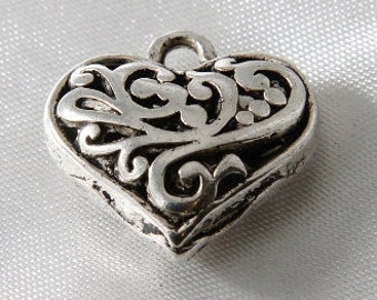 4 pcs - 20mm Antique Silver Puffy 3D Filigree Heart Charms