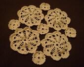 Ecru cream doily handmade crochet