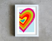 rainbow heart art print, colorful poster, heart wall art, graphic design heart i love you so much