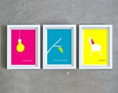 Quote art prints, wall art set, colorful art prints, inspirational quote, fun art prints, fuchsia, blue, yellow print