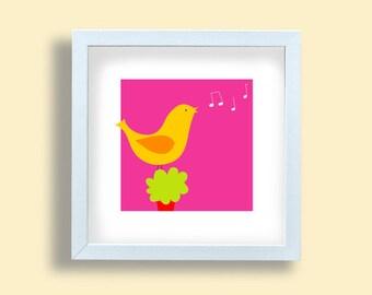 Yellow bird print, baby fuchsia print, nursery room print, children poster, bird singing