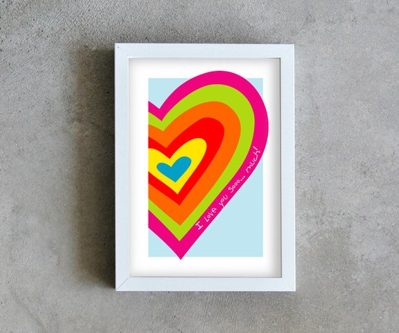rainbow heart art print, colorful heart poster, Wall deco, heart wall art, graphic design heart i love you so much, home decoration