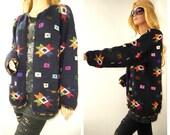 Oversized Sweater-Knit Tribal-Star motif Cardigan