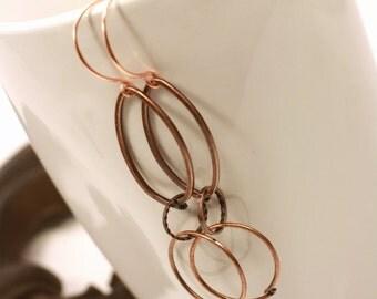 Copper wire chain earrings