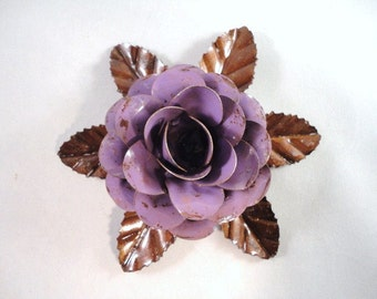 Large Size Decorative Metal Hand Cut and Hand Painted Rustic Lavender Rose Mounted on a Bed of Metal Leaves.