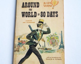 Around the World in 80 Days by Jules Verne, Vintage Paperback Book