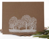 winter forest cards, tree greeting cards set of 4, hand stamped cards, simple style