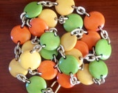 1970's Vintage Long Colorful Candy Links Necklace