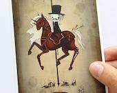 "4x6 fine art print - ""War"" Four Horsemen of the Apocalypse - cute creepy carousel horse illustration"