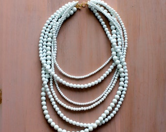 White Multi Strand Necklace