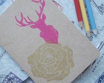 Hand Printed A6 Reindeer & Roses Sketchbook