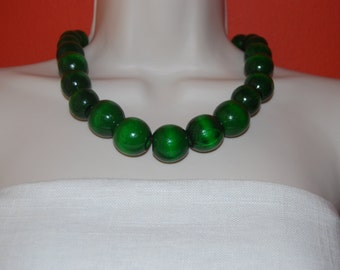 Statement Necklace Chunky Grass Green Beaded Necklace Wood Bold Necklace and Earrings Set